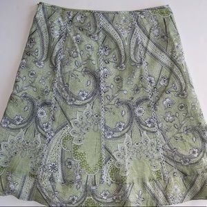 Ann Taylor Green Floral Skirt Cross Stitched Seams